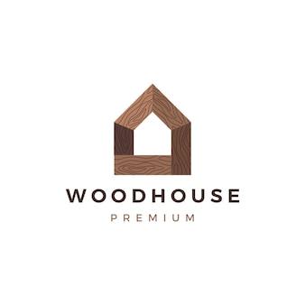 Logotipo de madeira da casa de madeira