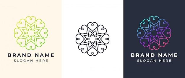 Logotipo de mandala de arte em linha