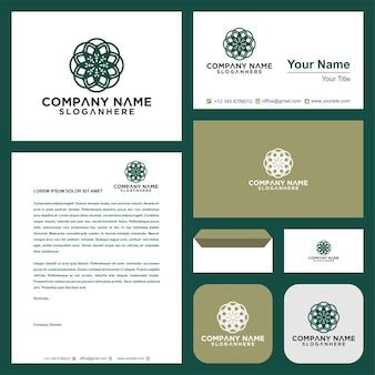 Logotipo de mandala de luxo ornamental e cartão de visita