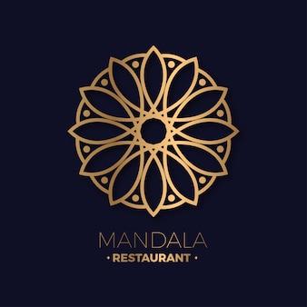 Logotipo de mandala de restaurante luxuoso