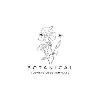 Logotipo de mão desenhada flores