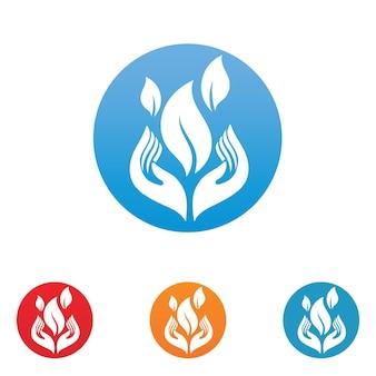 Logotipo de mão e folha e vetor de natureza de símbolo