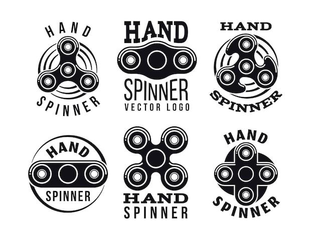 Logotipo de mão spinner e rótulos. emblemas de fiação