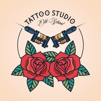 Logotipo de máquina de estúdio de tatuagem com rosas
