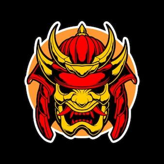 Logotipo de máscara de ouro de samurai
