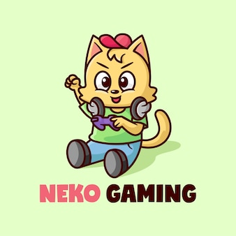 Logotipo de mascot de jogo de gato engraçado