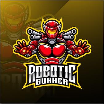 Logotipo de mascote artilheiro robótico