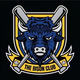 Logotipo de mascote beisebol o clube de bison