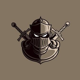 Logotipo de mascote cabeça de cavaleiro com fundo