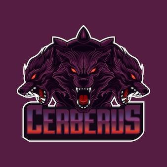 Logotipo de mascote cabeça de cerberus