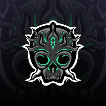 Logotipo de mascote caveira preta espinhosa