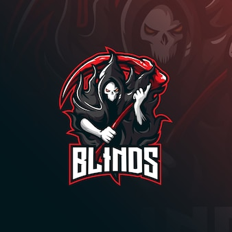 Logotipo de mascote cego de caveira com ilustração moderna