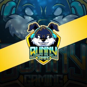 Logotipo de mascote coelho esport