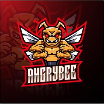 Logotipo de mascote de abelha zangada