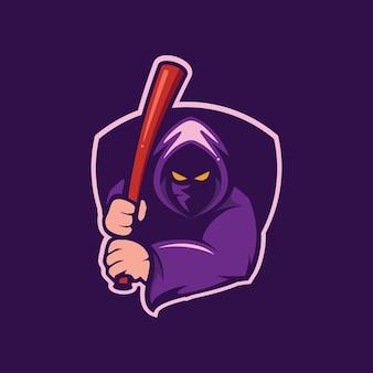 Logotipo de mascote de assistente e beisebol