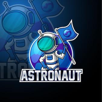 Logotipo de mascote de astronauta