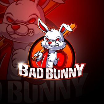 Logotipo de mascote de bad bunny esport