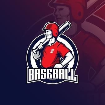 Logotipo de mascote de beisebol com ilustração moderna