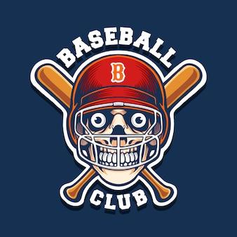 Logotipo de mascote de beisebol de caveira