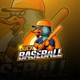 Logotipo de mascote de beisebol pato esport