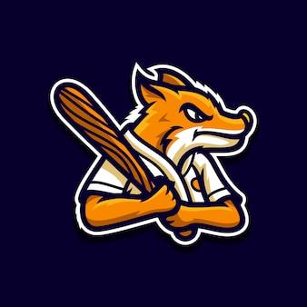 Logotipo de mascote de beisebol raposa