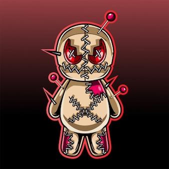 Logotipo de mascote de boneca de vodu