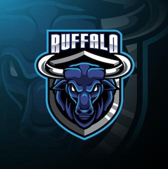Logotipo de mascote de cabeça de búfalo