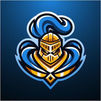 Logotipo de mascote de cabeça de cavaleiro