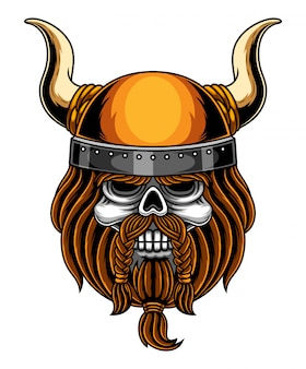 Logotipo de mascote de cabeça de caveira viking