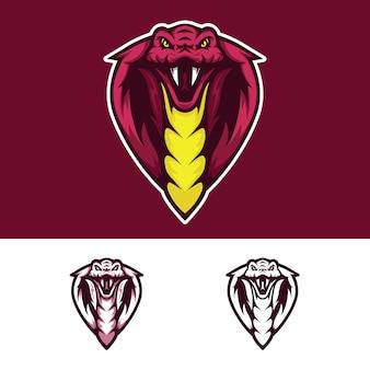 Logotipo de mascote de cabeça de cobra com raiva