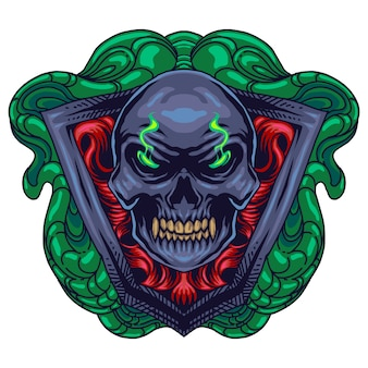 Logotipo de mascote de cabeça de diabo