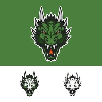 Logotipo de mascote de cabeça de dragão com raiva