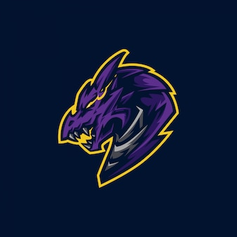 Logotipo de mascote de cabeça de dragão e logotipo de jogo