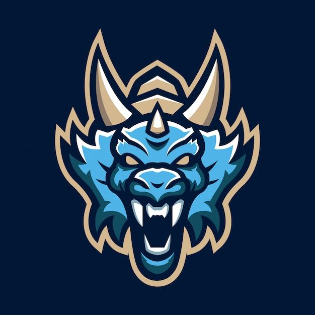Logotipo de mascote de cabeça de dragão
