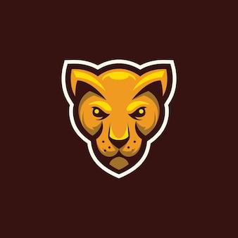 Logotipo de mascote de cabeça de gato selvagem