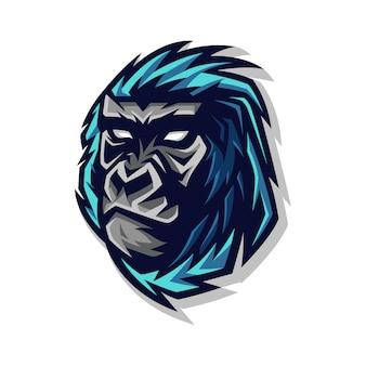 Logotipo de mascote de cabeça de gorila