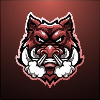 Logotipo de mascote de cabeça de javali