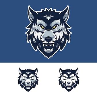Logotipo de mascote de cabeça de lobo zangado