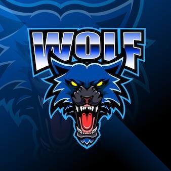 Logotipo de mascote de cabeça de lobo