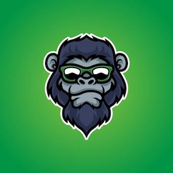 Logotipo de mascote de cabeça de macaco fresco