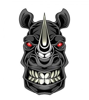 Logotipo de mascote de cabeça de rinoceronte