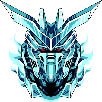 Logotipo de mascote de cabeça de robô azul