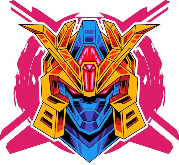 Logotipo de mascote de cabeça de robô
