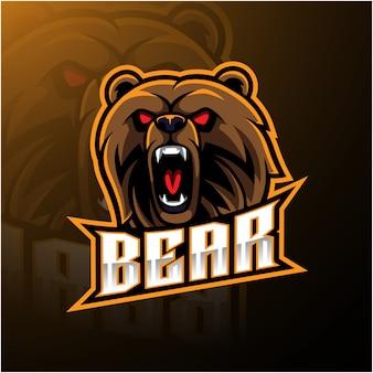 Logotipo de mascote de cabeça de urso