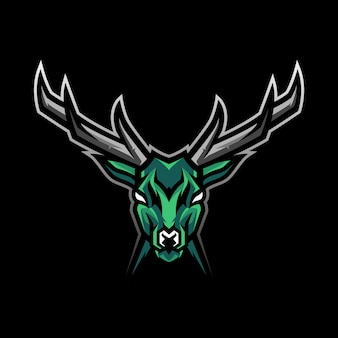 Logotipo de mascote de cabeça de veado