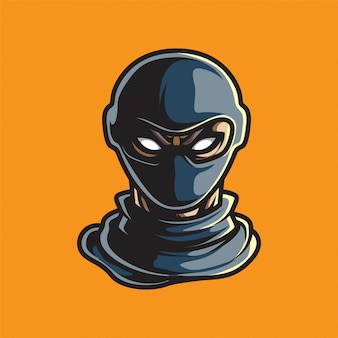 Logotipo de mascote de cabeça humana esport