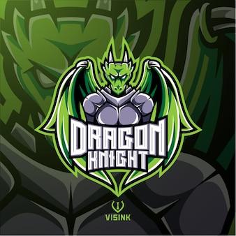 Logotipo de mascote de cavaleiro de dragão