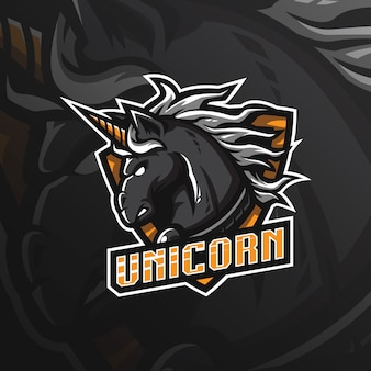 Logotipo de mascote de cavalo unicórnio