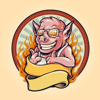 Logotipo de mascote de churrasco de porco porco com fita e fogo vintage