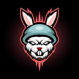 Logotipo de mascote de coelho coelho soldado